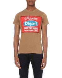 Diesel T-Isavros Printed T-Shirt - For Men beige - Lyst