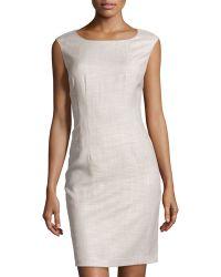 Lafayette 148 New York Textured Sleeveless Sheath Dress - Lyst