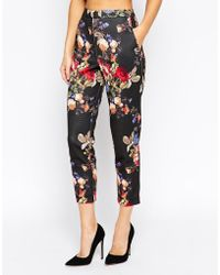 Asos Skinny Cigarette Trousers In Floral Print - Lyst