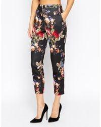 Asos Skinny Cigarette Pants In Floral Print - Lyst
