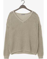 Vince Grid Mesh V-Neck Sweater - Lyst