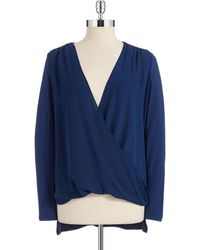 Vince Camuto Mixed Media Wrap Front Top - Lyst