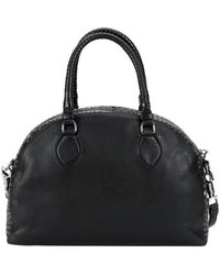 Christian Louboutin Black Leather 'Panettone' Eyelet Detail Large Convertible Satchel - Lyst