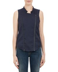 Barneys New York Stripe Pattern Textured Isla Vest - Lyst
