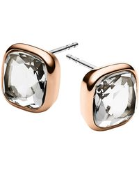 Michael Kors Rose Gold-Tone And Clear Stone Stud Earrings - Lyst