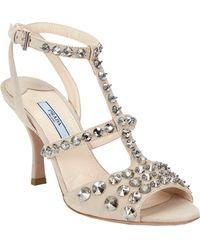 Prada Crystal Stud Tstrap Sandals - Lyst