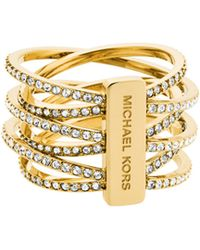 Michael Kors Crystal And Goldtone Criss Cross Ring gold - Lyst