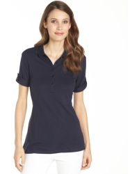 Burberry Brit Navy Cotton Modal Blend Short Sleeve Polo Shirt - Lyst