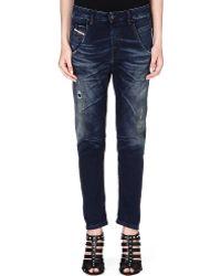 Diesel Boyfriend Midrise Jeans Dark Washed Blue - Lyst