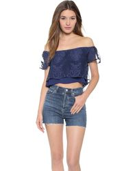 Madison Marcus - Stella Crop Top - Navy - Lyst