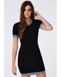 Missguided Greek Key Ribbed Bodycon Dress Black - Lyst