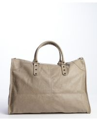 Balenciaga Tan Leather Weekender Zipper Buckle Detail Large Tote - Lyst