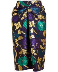 Osman Yousefzada Drape Front Brocade Skirt - Lyst