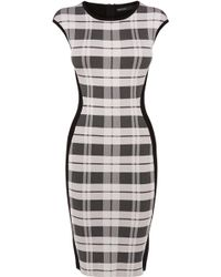 Karen Millen Check Bandage Knit Dress - Lyst