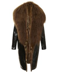 J. Mendel Fur Collar with Eel Leather Coat - Lyst