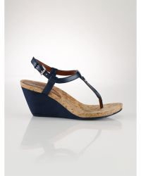 Ralph Lauren Leather Reeta Wedge - Lyst