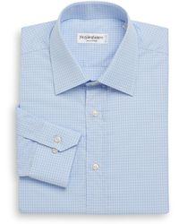 Saint Laurent Woven Grid Dress Shirt - Lyst