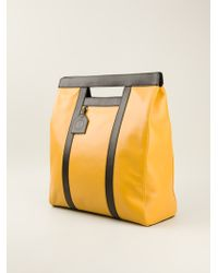 Vionnet Yellow Bicolour Shopper - Lyst