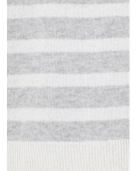 Duffy - Grey And White Striped Fine Knit Cashmere Top - Lyst