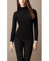 Burberry Check Cuff Roll Neck Sweater - Lyst