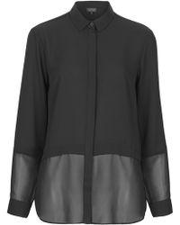 Topshop Womens Sheer Hem Panel Chiffon Shirt  Black - Lyst