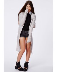 Missguided Longline Chunky Knitted Cardigan Grey - Lyst
