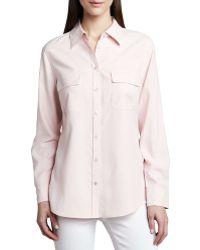 Go Silk Safari Long-Sleeve Silk Shirt beige - Lyst