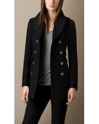 Burberry Fitted Wool Blend Twill Pea Coat - Lyst