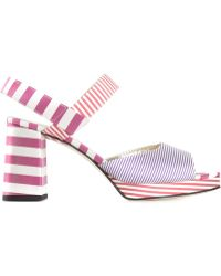 Amelie Pichard Striped Chunky Heel Sandals - Lyst