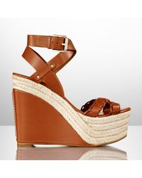 Ralph Lauren Collection Calfskin Filipina Wedge - Lyst