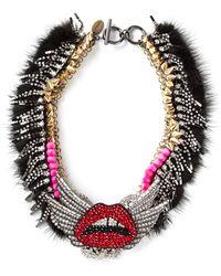 Venna - Embellished Lips Necklace - Lyst