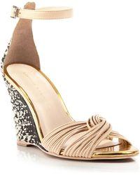 Loeffler Randall Metallic Snake Embossed Sandals - Allegra Wedge - Lyst