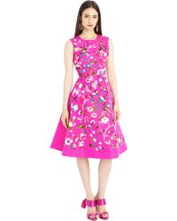 Oscar de la Renta Floral Embroidered Shocking Pink Silk Faille Cocktail Dress - Lyst