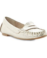 Steve Madden Murphey Metallic Perforated Loafers Goldplain Synthetic - Lyst