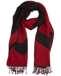 Givenchy Red and Black Wool Pattern Accent Reversible Scarf - Lyst