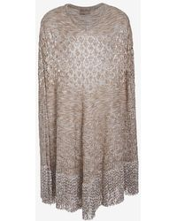 Missoni Textured Weave Poncho beige - Lyst