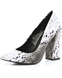 River Island Black and White Snake Angular Court Shoes - Lyst