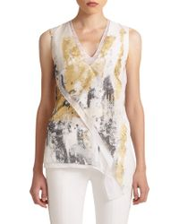 Reed Krakoff Asymmetrical Foil Silk Top - Lyst