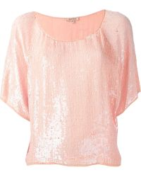 P.A.R.O.S.H. Sequin Short-Sleeved Blouse - Lyst