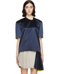 Thomas Tait - Navy And Chartreuse Silk Liquid T-shirt - Lyst