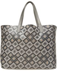 Yarnz - Grey Tiki Hut Print Leather Bag - Lyst