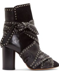 Isabel Marant Black Leather Carnation Aubrey Boots - Lyst