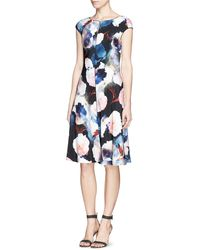 St. John Floral Print Silk Flare Dress - Lyst