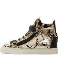 Giuseppe Zanotti Silver And Black Spattered Snakeskin London Miro Sneakers - Lyst