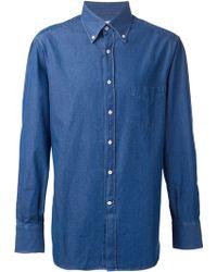 Brunello Cucinelli Button Down Denim Shirt - Lyst