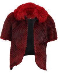 J. Mendel Striped Fur Jacket With Fox Trim - Lyst