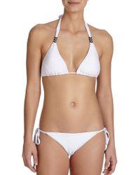 Shoshanna Diamond-Textured Arrow Halter Bikini Top white - Lyst
