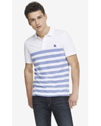 Express Striped Small Lion Pique Polo - Lyst
