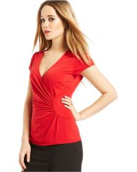 Laundry by Shelli Segal Surplice Ruched Top - Lyst