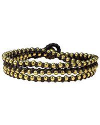 Aeravida - Triple Wrap Mini Brass Beads Single Strand Brown Cotton Rope Bracelet - Lyst